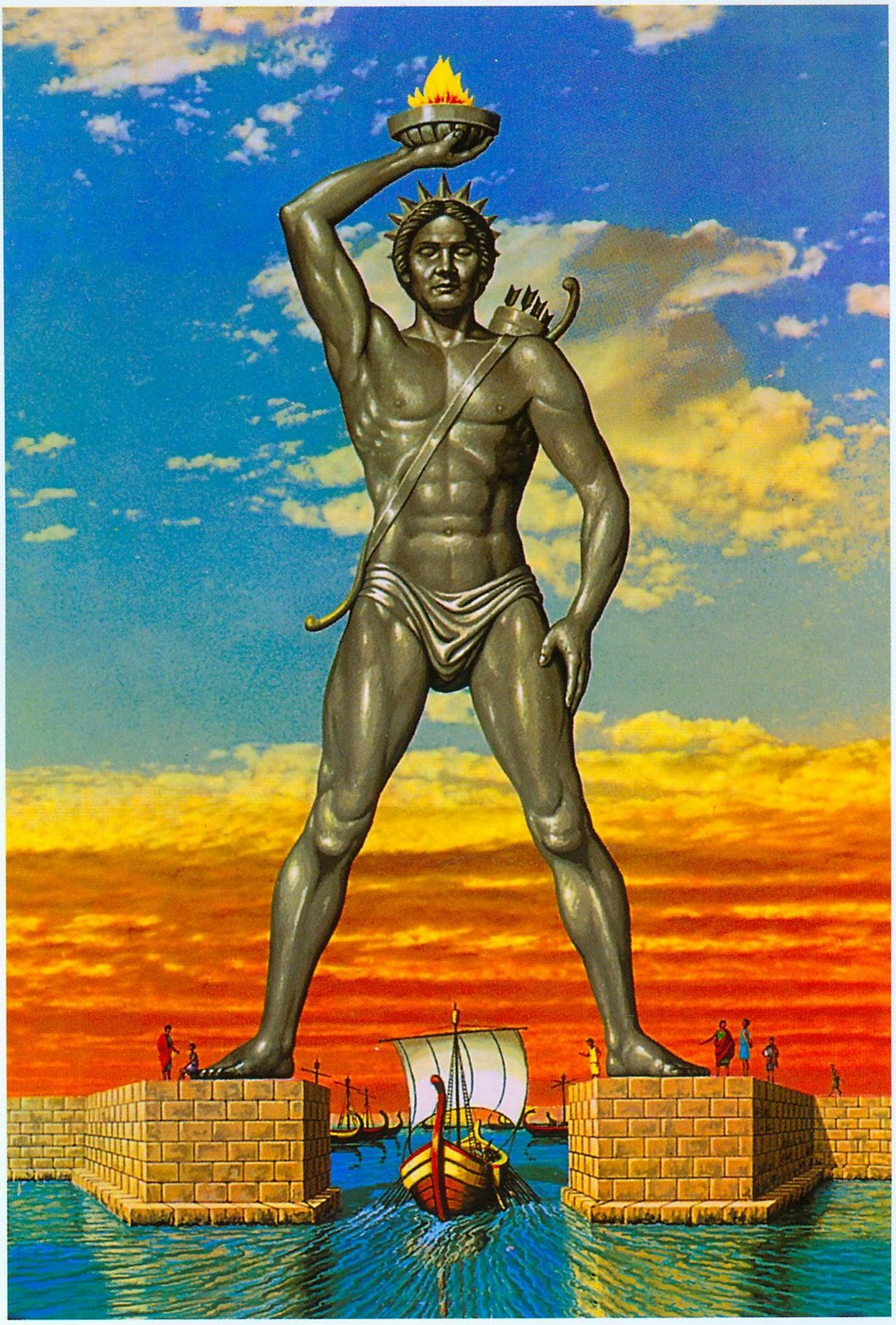 An artist's depiction of the original Colossus of Rhodes statue. Explore Rhodes with AutoRhodes car hire.
